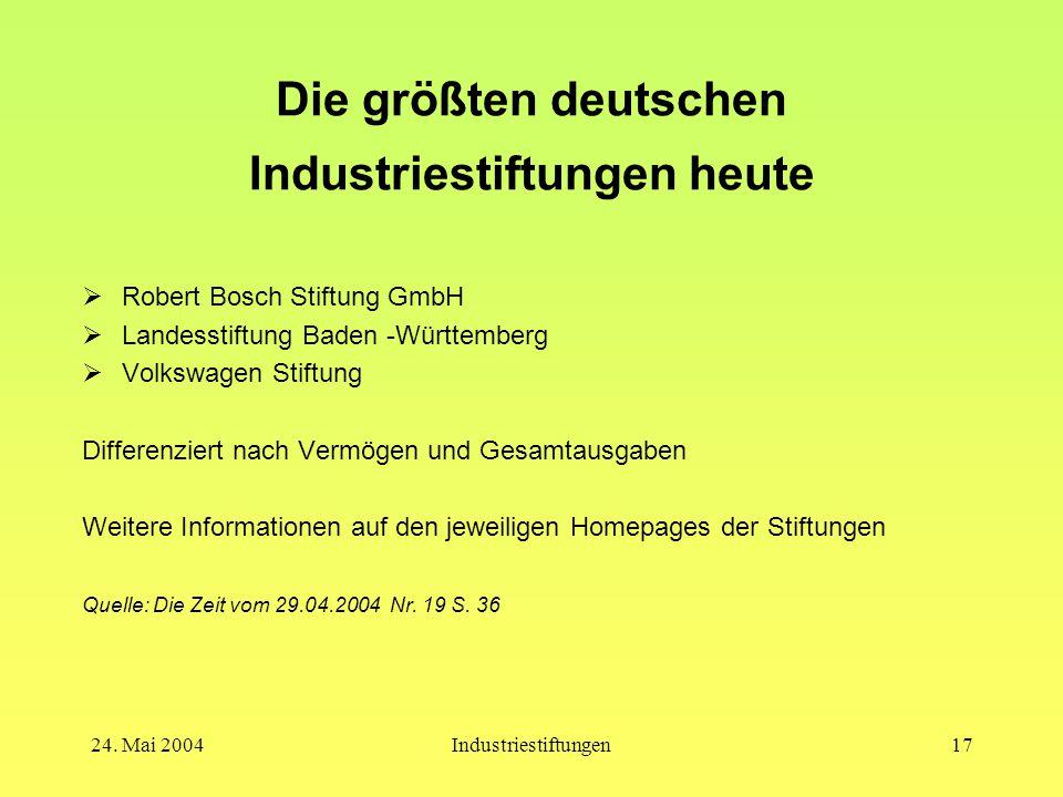 Die größten deutschen Industriestiftungen heute