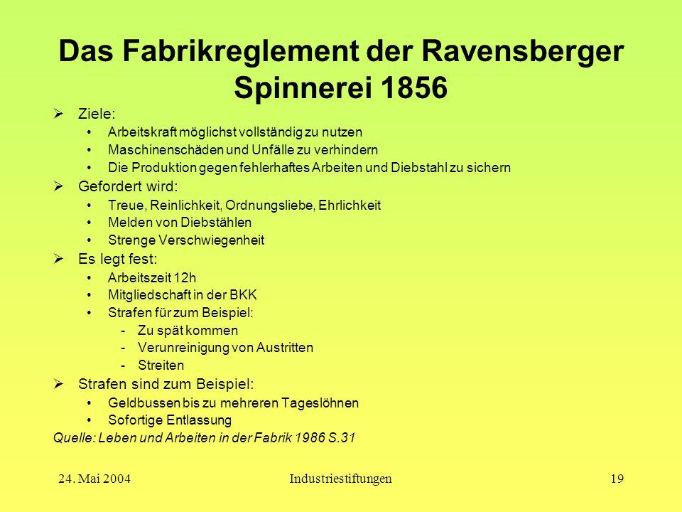 Das Fabrikreglement der Ravensberger Spinnerei 1856