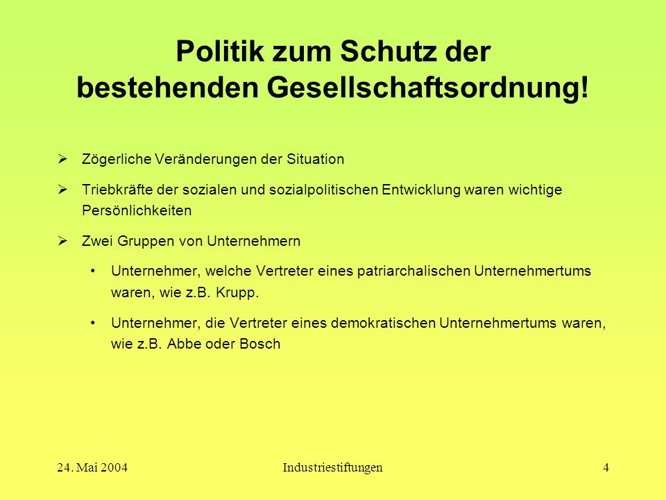 Politik zum Schutz der bestehenden Gesellschaftsordnung!