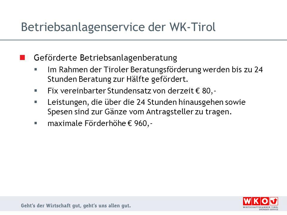 Betriebsanlagenservice der WK-Tirol