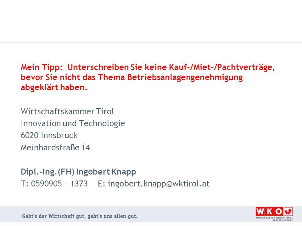 Wirtschaftskammer Tirol Innovation und Technologie 6020 Innsbruck