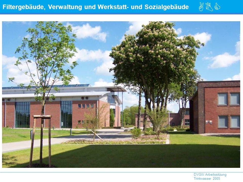 Filtergebäude, Verwaltung und Werkstatt- und Sozialgebäude