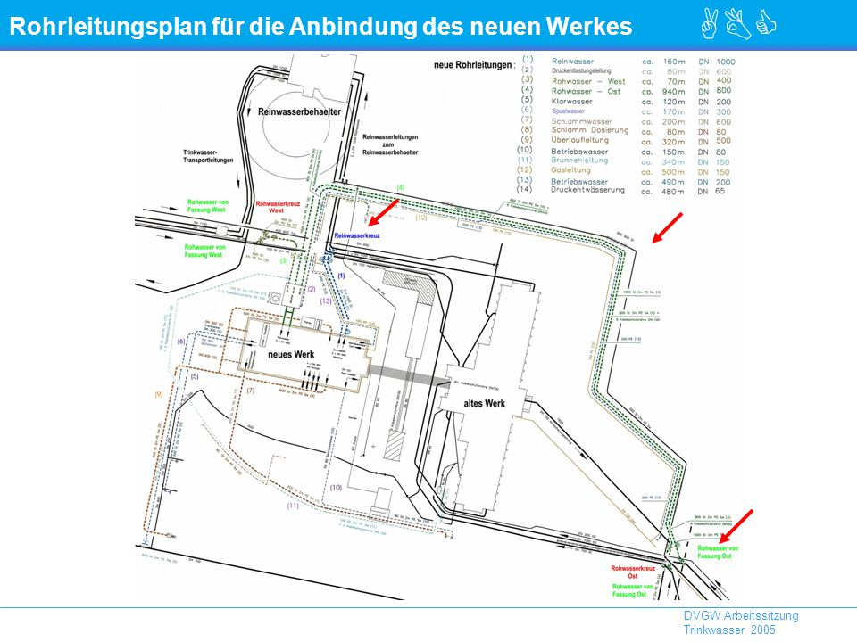 Rohrleitungsplan für die Anbindung des neuen Werkes