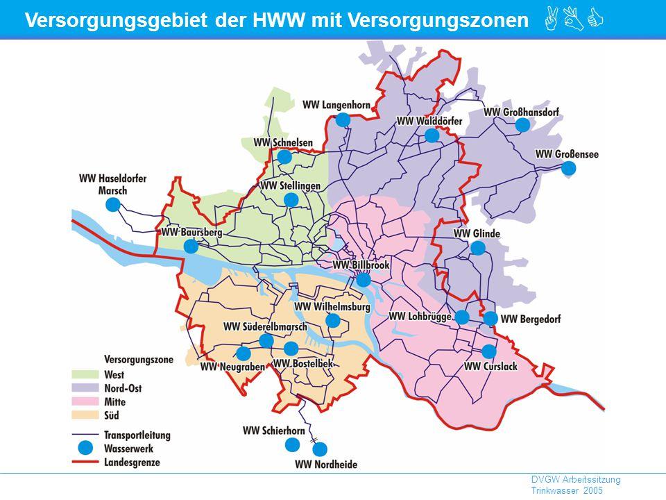 Versorgungsgebiet der HWW mit Versorgungszonen