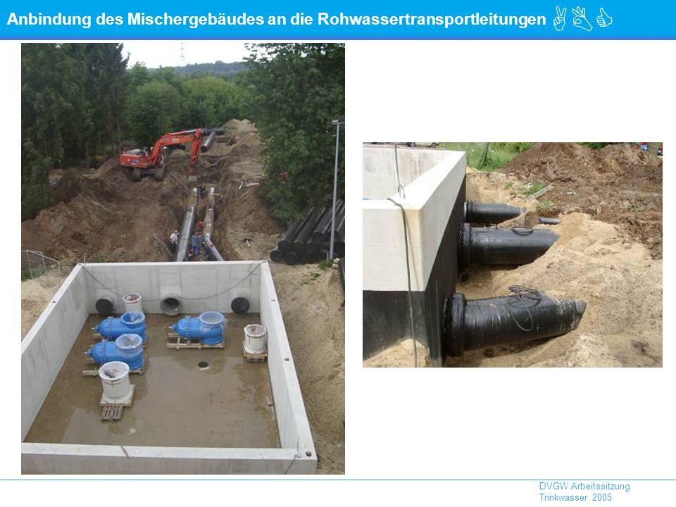 Anbindung des Mischergebäudes an die Rohwassertransportleitungen