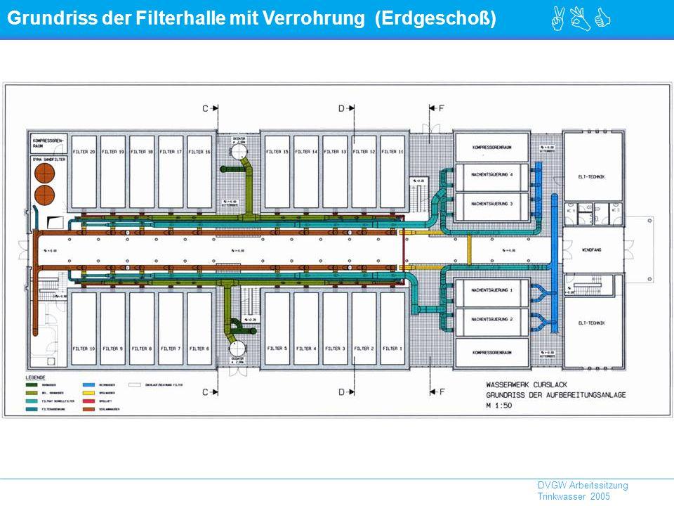 Grundriss der Filterhalle mit Verrohrung (Erdgeschoß)