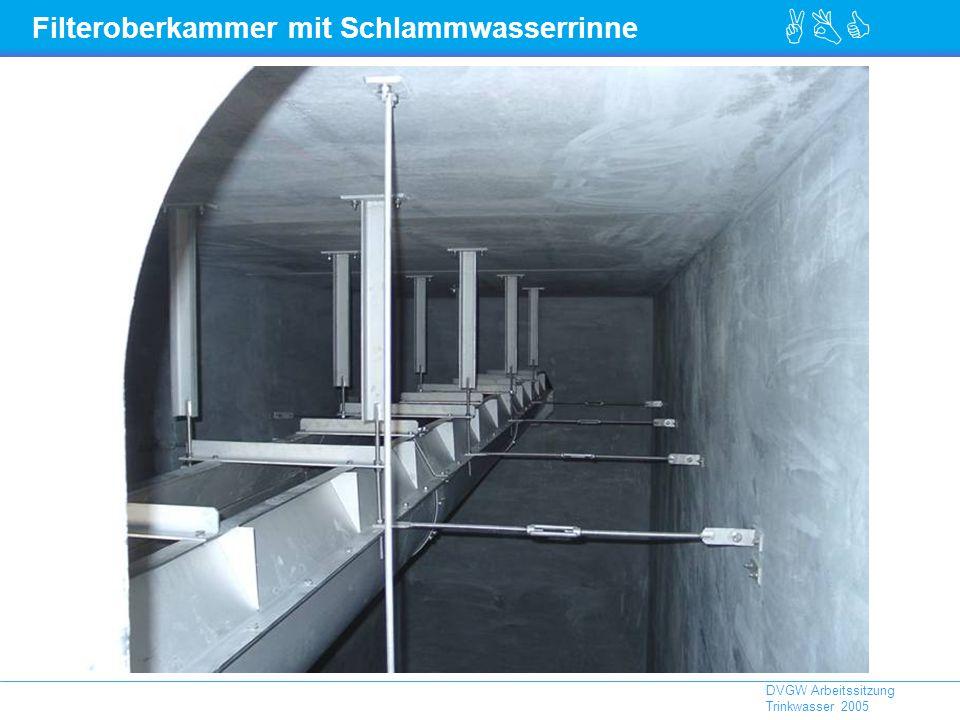 Filteroberkammer mit Schlammwasserrinne