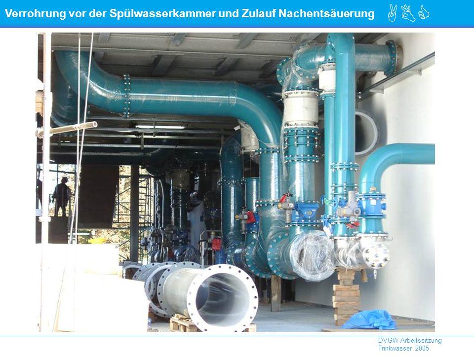 Verrohrung vor der Spülwasserkammer und Zulauf Nachentsäuerung