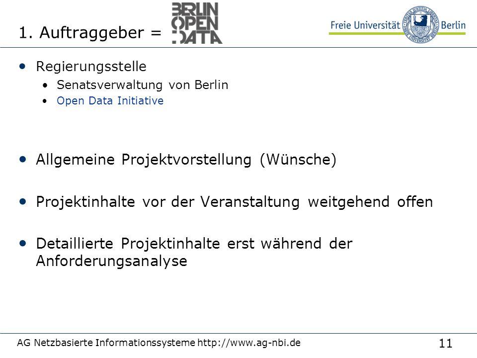 1. Auftraggeber = Allgemeine Projektvorstellung (Wünsche)