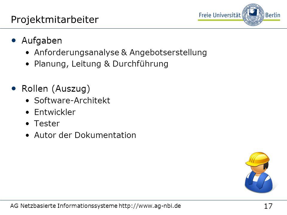 Projektmitarbeiter Aufgaben Rollen (Auszug)