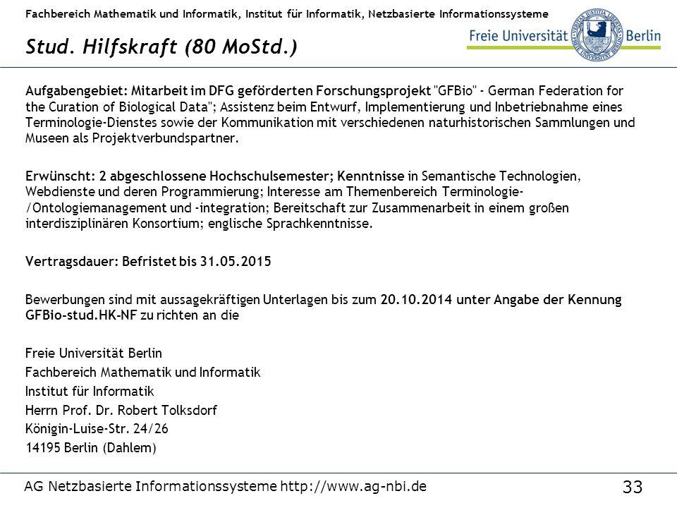 AG Netzbasierte Informationssysteme http://www.ag-nbi.de