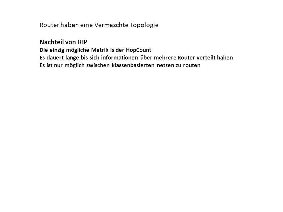 Router haben eine Vermaschte Topologie Nachteil von RIP