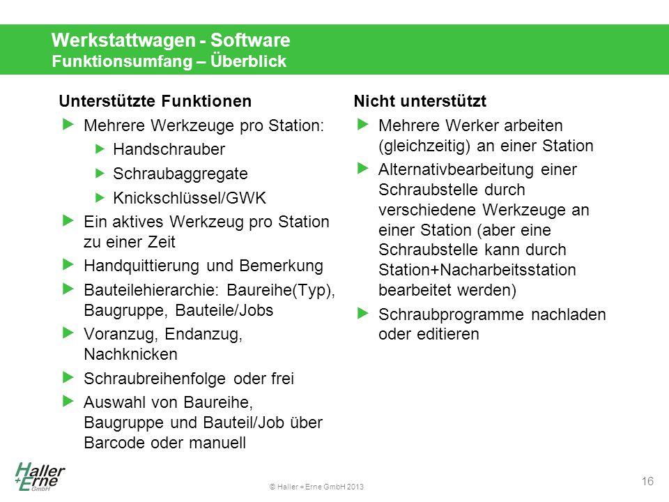 Werkstattwagen - Software Funktionsumfang – Überblick