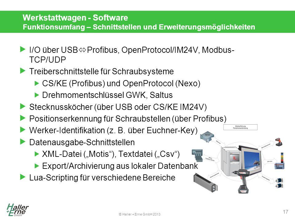 Werkstattwagen - Software Funktionsumfang – Schnittstellen und Erweiterungsmöglichkeiten