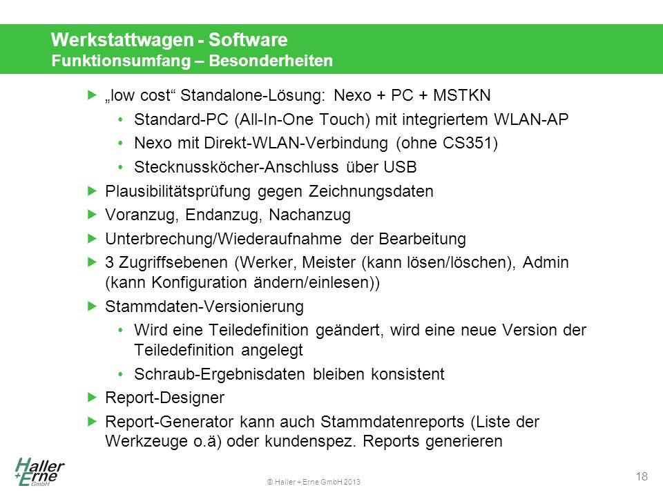 Werkstattwagen - Software Funktionsumfang – Besonderheiten