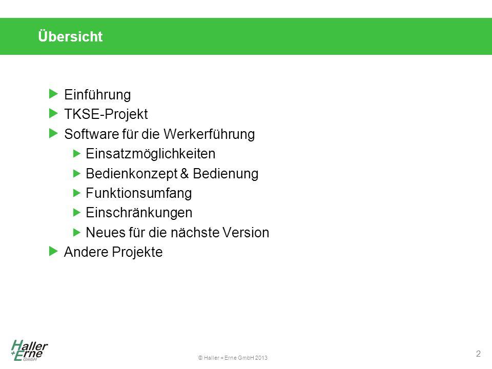 Übersicht Einführung. TKSE-Projekt. Software für die Werkerführung. Einsatzmöglichkeiten. Bedienkonzept & Bedienung.