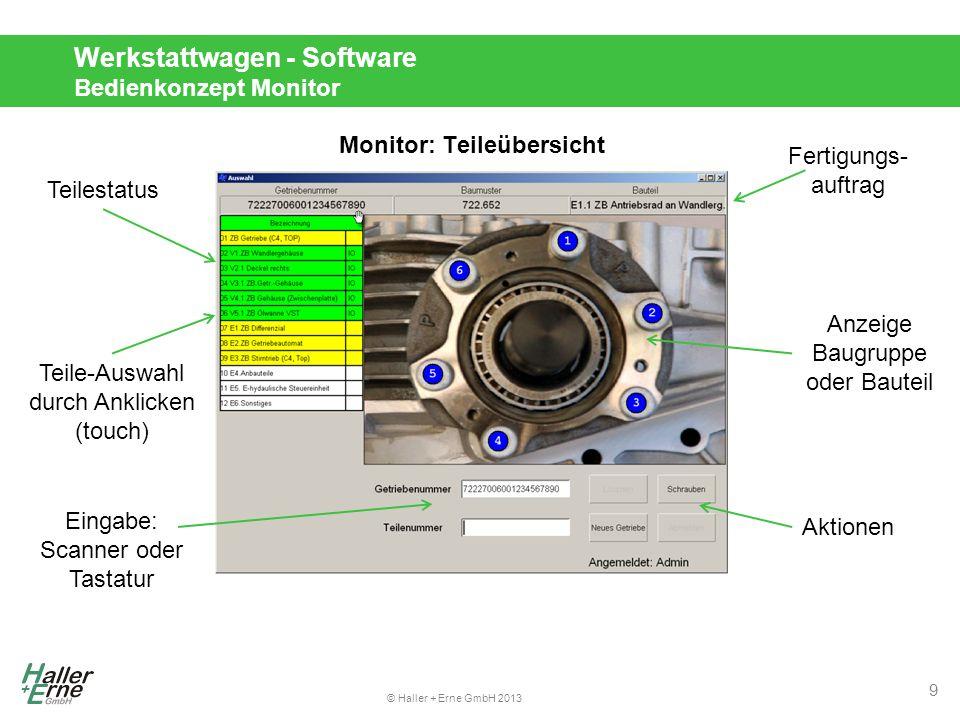 Werkstattwagen - Software Bedienkonzept Monitor