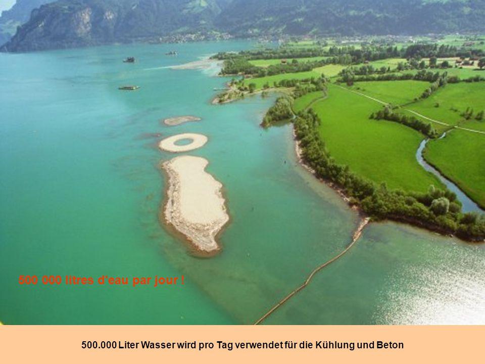 500.000 Liter Wasser wird pro Tag verwendet für die Kühlung und Beton