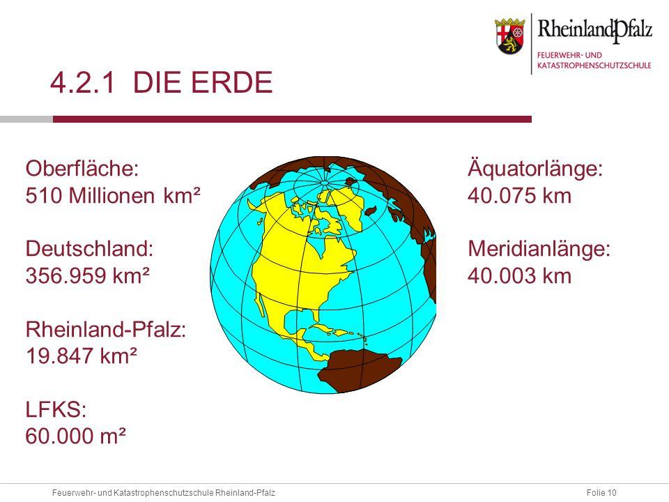 4.2.1 die erde Oberfläche: 510 Millionen km² Deutschland: 356.959 km²
