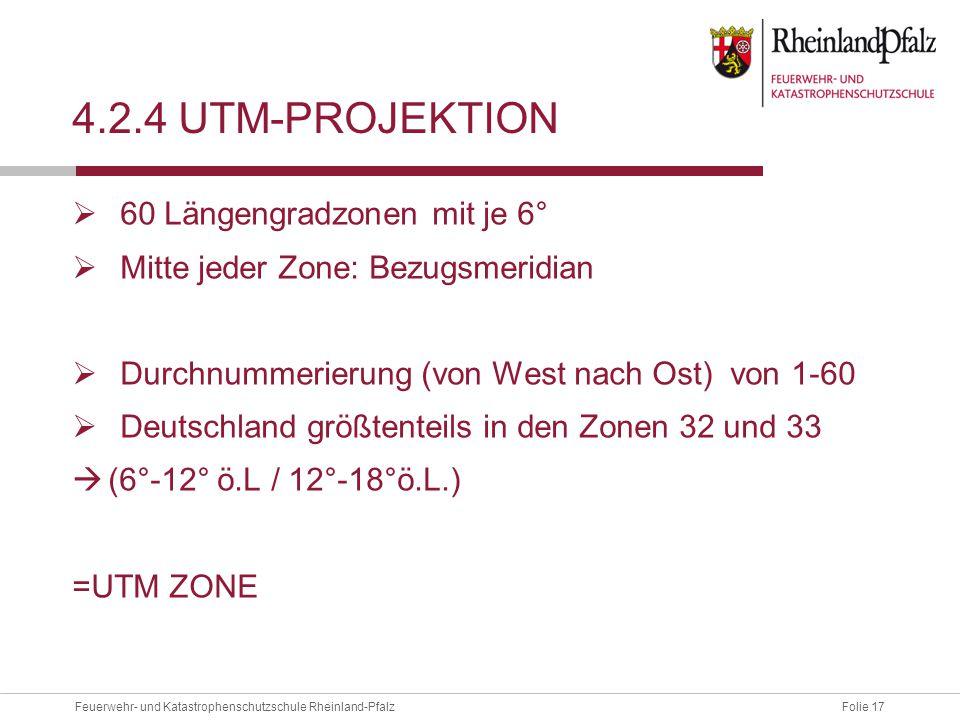 4.2.4 UTM-projektion 60 Längengradzonen mit je 6°