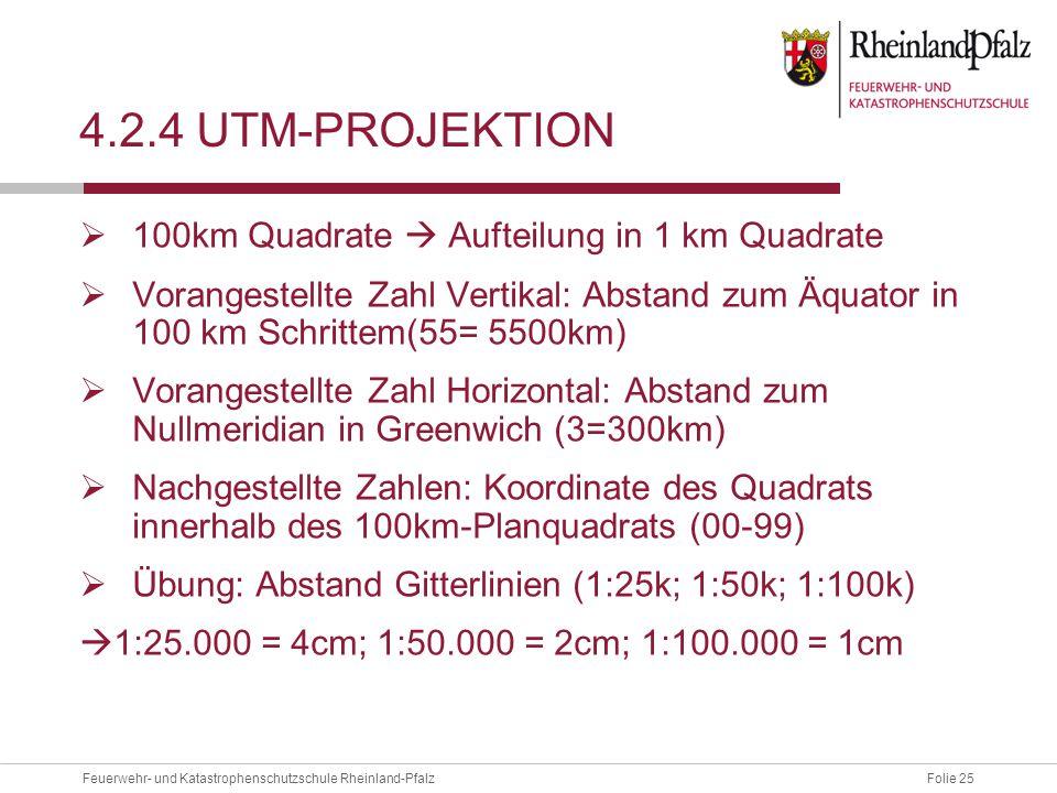 4.2.4 UTM-projektion 100km Quadrate  Aufteilung in 1 km Quadrate