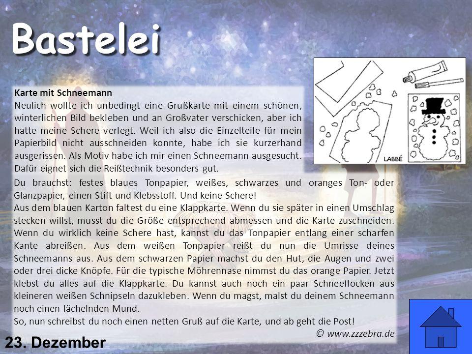 Bastelei 23. Dezember Karte mit Schneemann