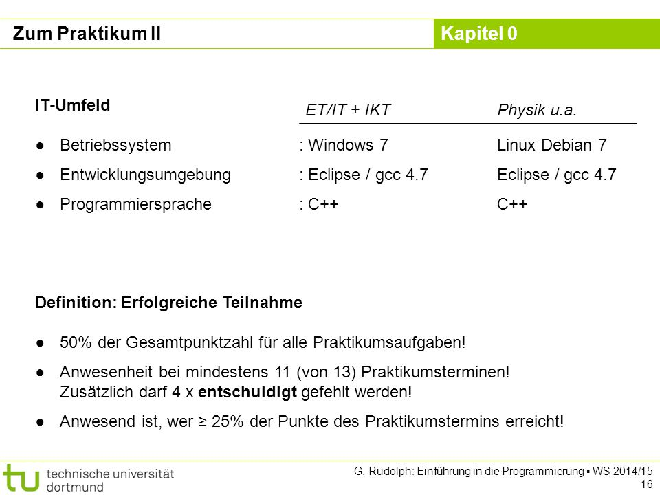 Zum Praktikum II IT-Umfeld ET/IT + IKT Physik u.a.