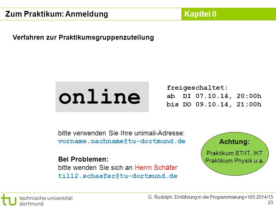online Zum Praktikum: Anmeldung