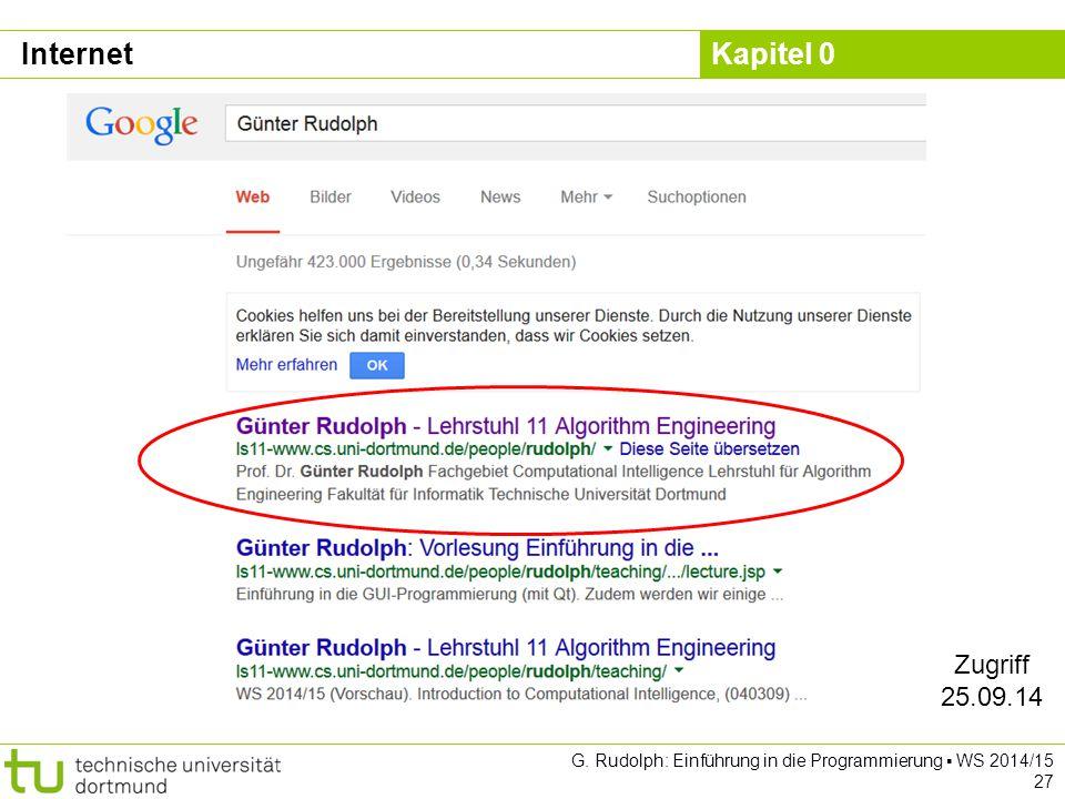 Internet Zugriff 25.09.14 G. Rudolph: Einführung in die Programmierung ▪ WS 2014/15 27