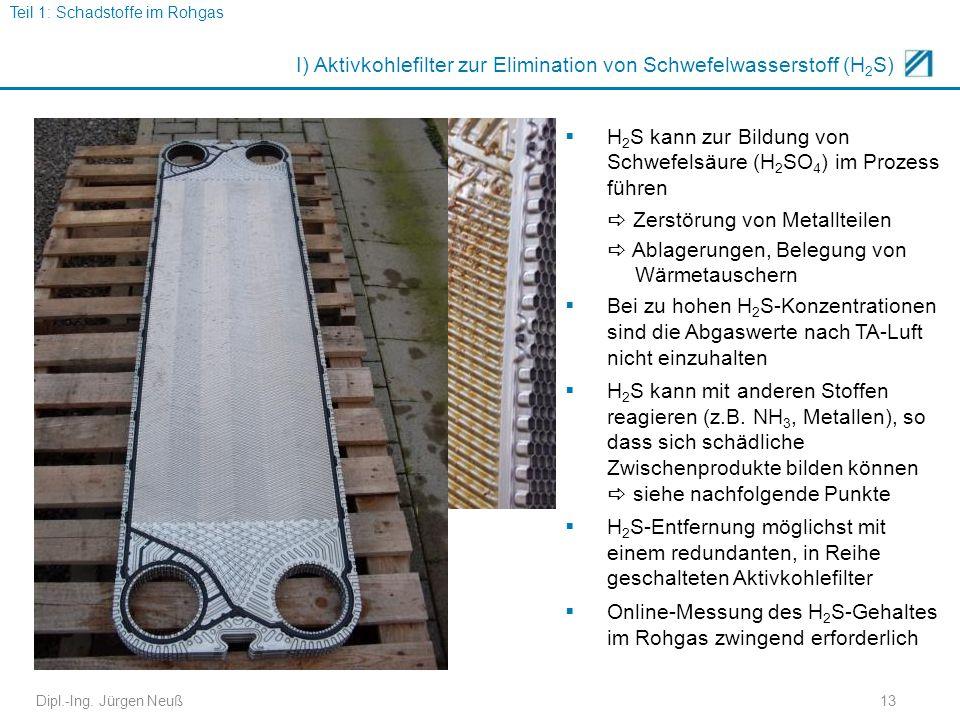 I) Aktivkohlefilter zur Elimination von Schwefelwasserstoff (H2S)