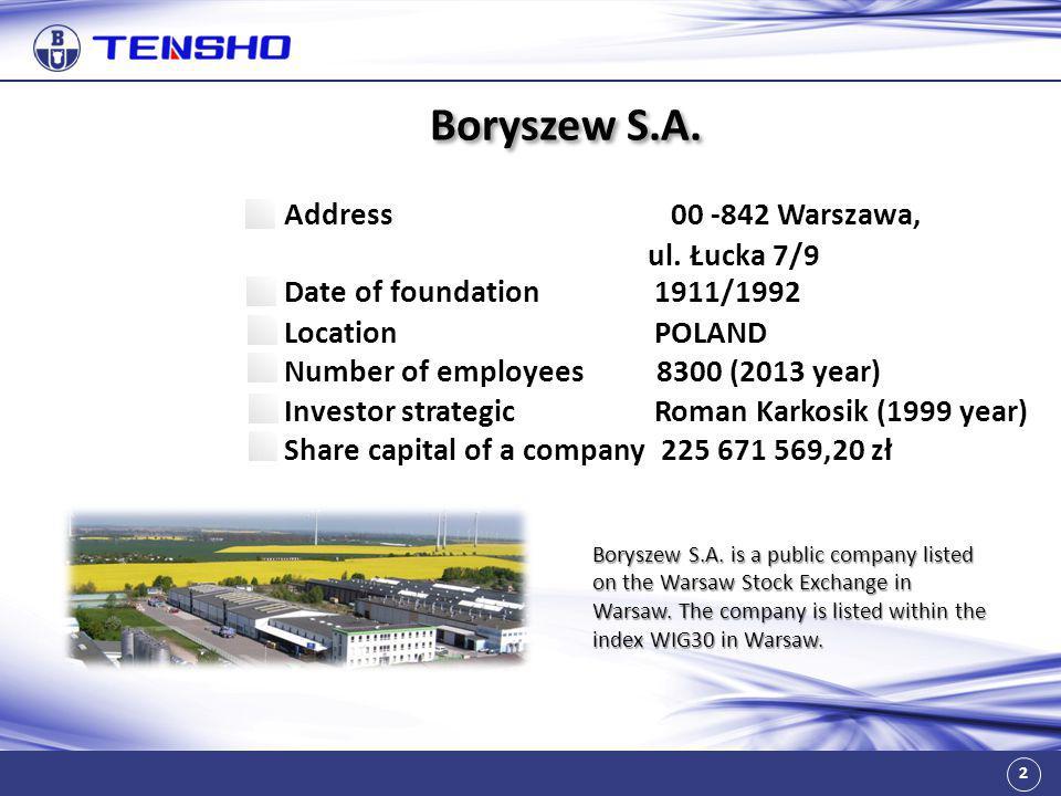 Boryszew S.A. Address 00 -842 Warszawa, ul. Łucka 7/9