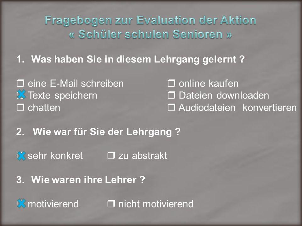 Fragebogen zur Evaluation der Aktion « Schüler schulen Senioren »