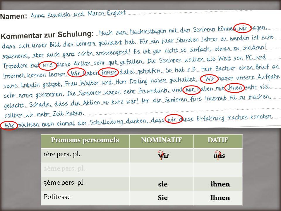Pronoms personnels NOMINATIF. DATIF. 1ère pers. pl. 2ème pers. pl. 3ème pers. pl. Politesse. wir.