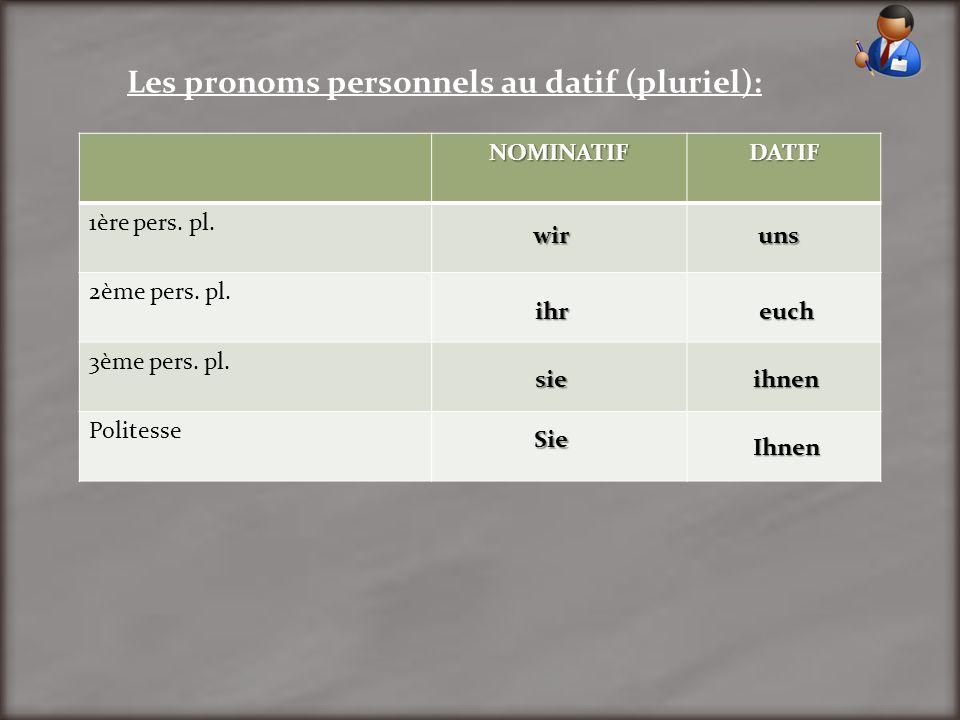 Les pronoms personnels au datif (pluriel):