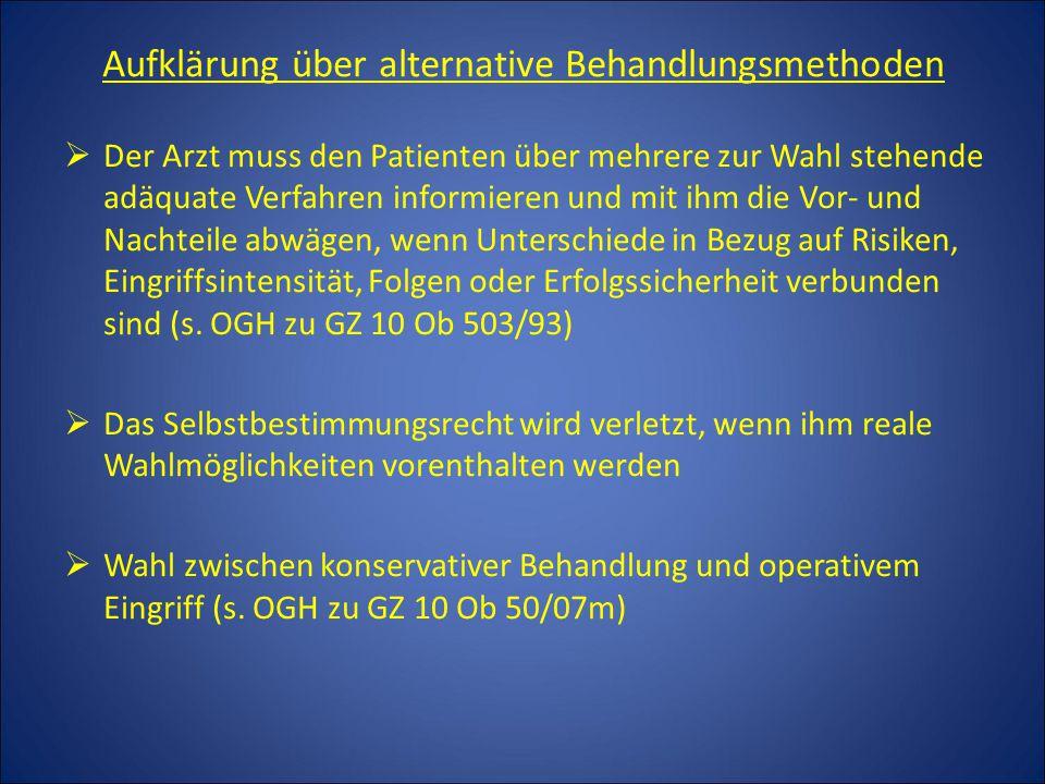 Aufklärung über alternative Behandlungsmethoden