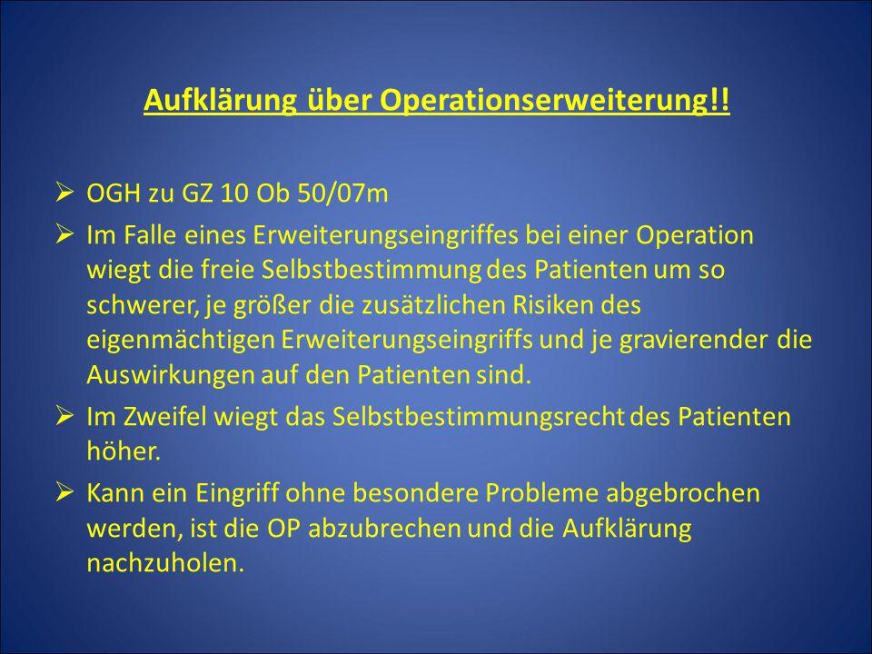 Aufklärung über Operationserweiterung!!