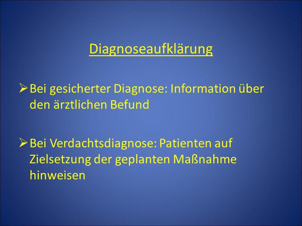 Diagnoseaufklärung Bei gesicherter Diagnose: Information über den ärztlichen Befund.