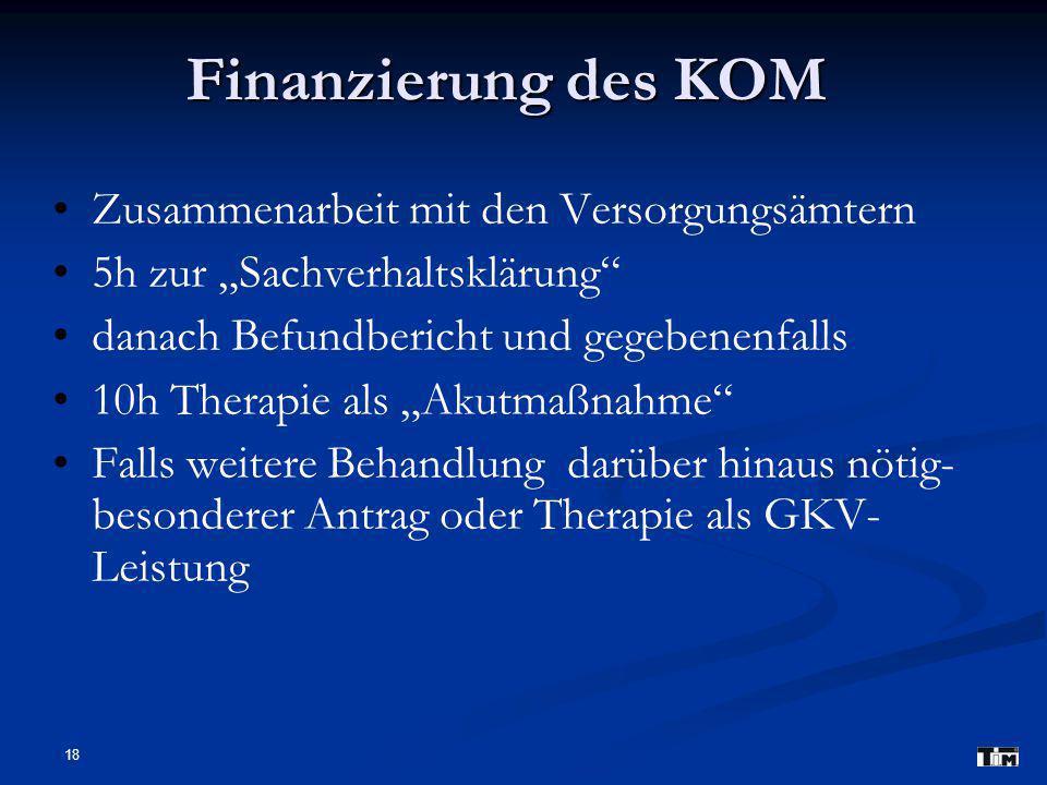 Finanzierung des KOM Zusammenarbeit mit den Versorgungsämtern