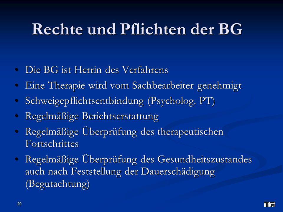 Rechte und Pflichten der BG