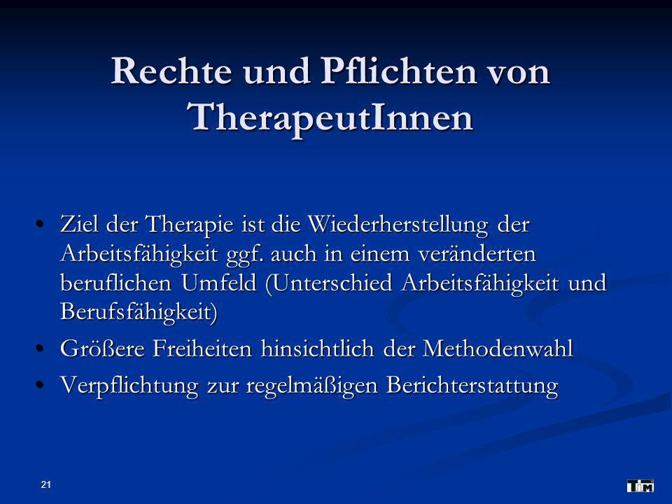 Rechte und Pflichten von TherapeutInnen