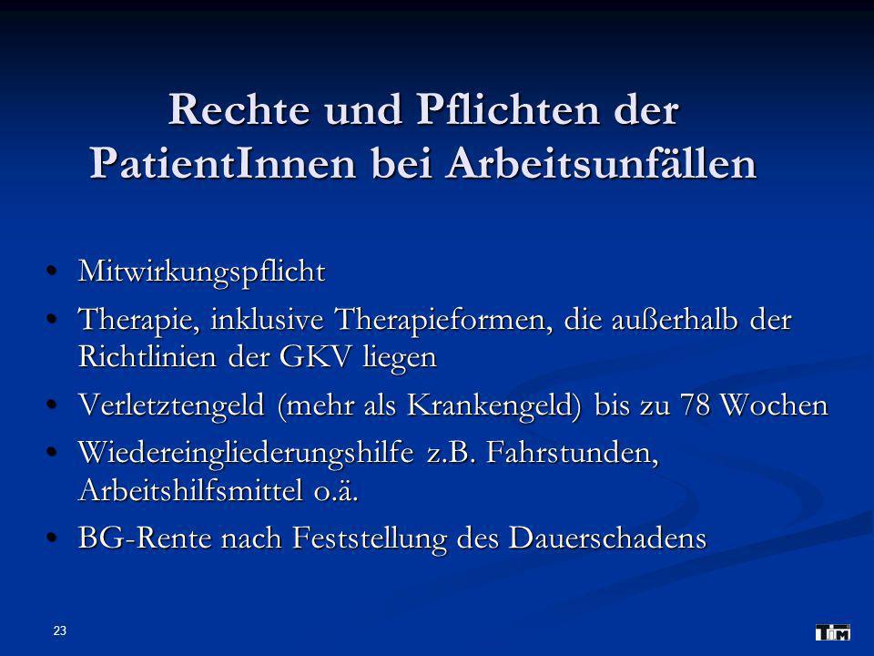Rechte und Pflichten der PatientInnen bei Arbeitsunfällen