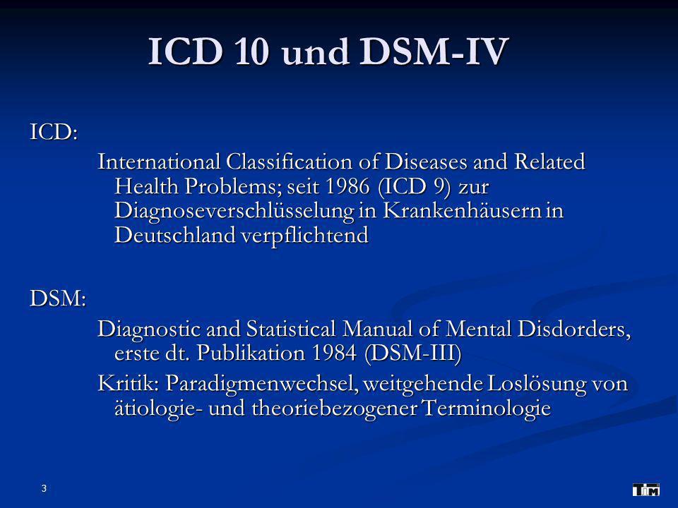 ICD 10 und DSM-IV ICD: