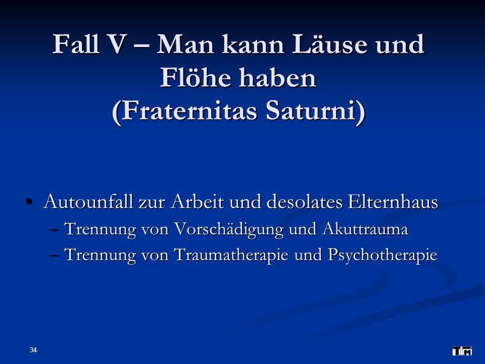 Fall V – Man kann Läuse und Flöhe haben (Fraternitas Saturni)