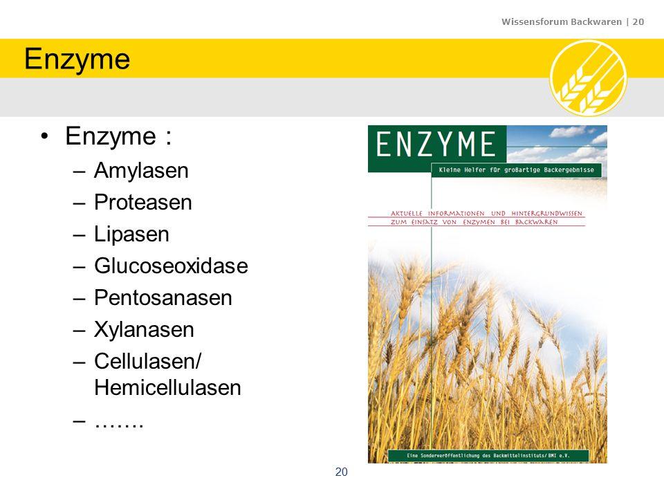 Enzyme Enzyme : Amylasen Proteasen Lipasen Glucoseoxidase Pentosanasen