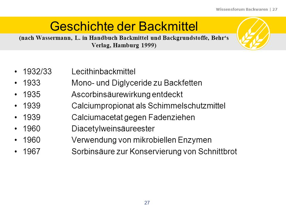 Geschichte der Backmittel (nach Wassermann, L