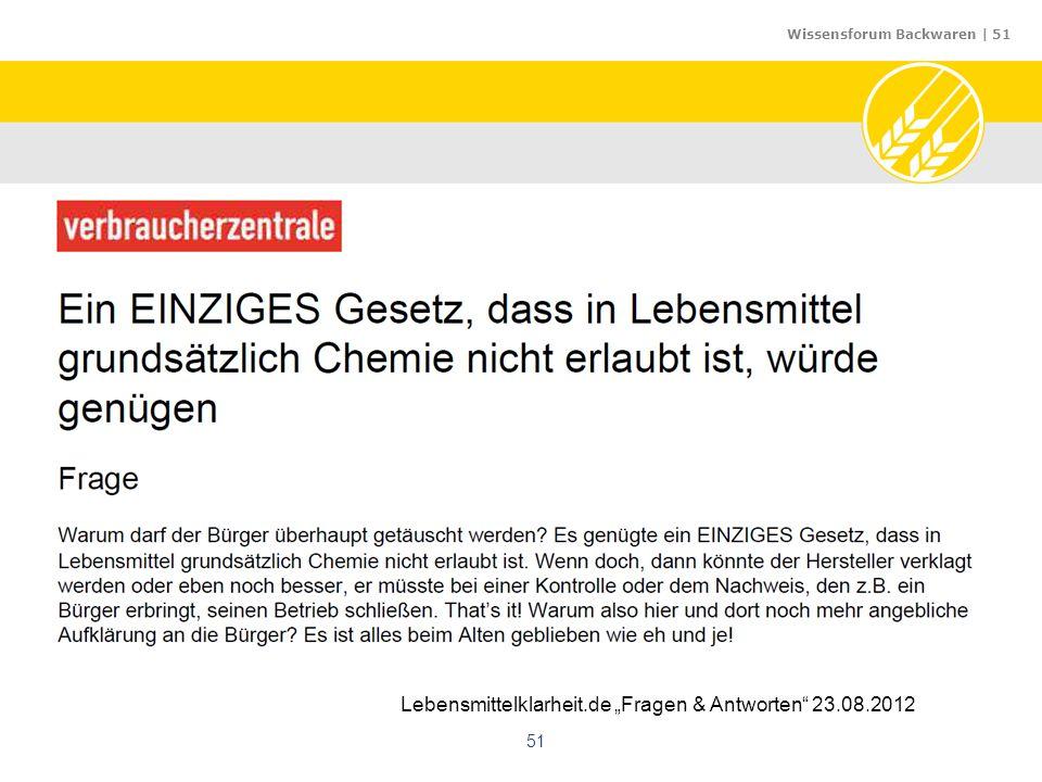 """Lebensmittelklarheit.de """"Fragen & Antworten 23.08.2012"""