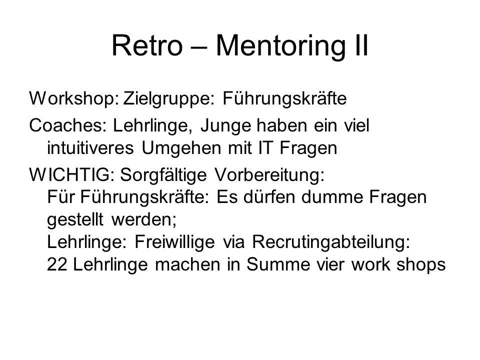 Retro – Mentoring II Workshop: Zielgruppe: Führungskräfte