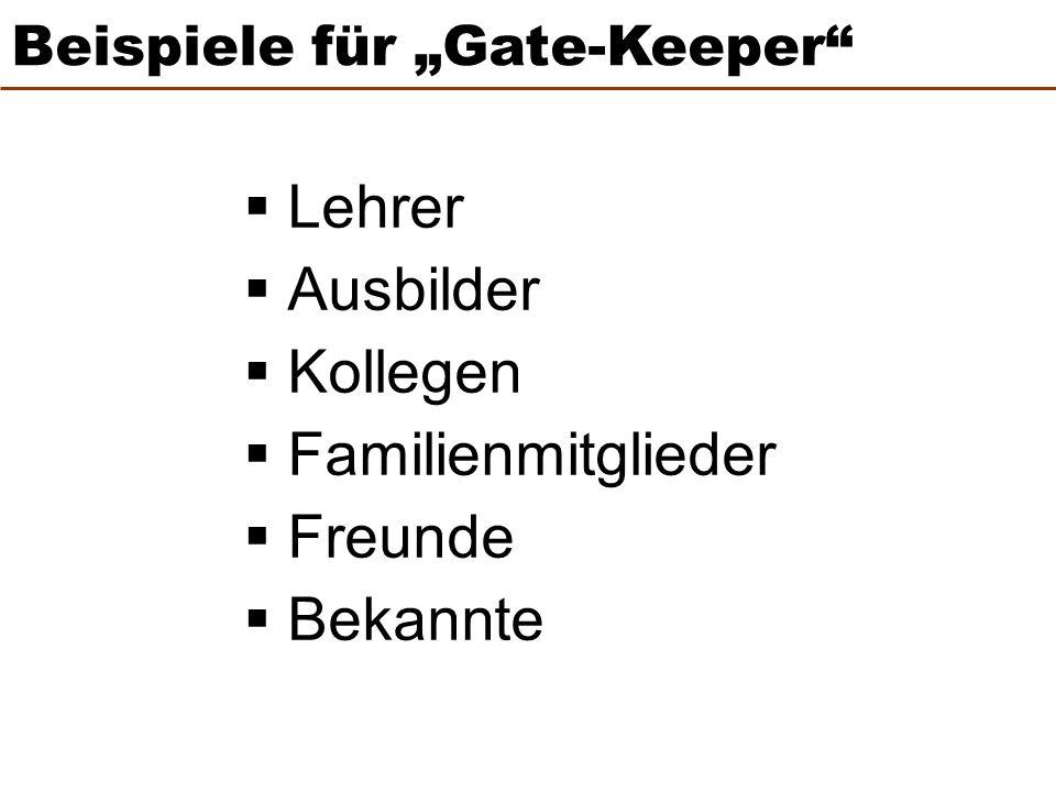"""Beispiele für """"Gate-Keeper"""