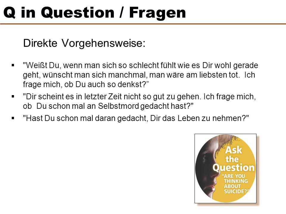 Q in Question / Fragen Direkte Vorgehensweise: