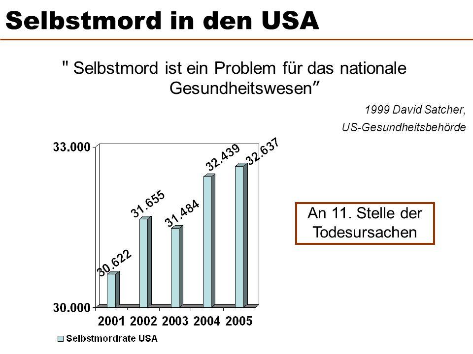 Selbstmord in den USA Selbstmord ist ein Problem für das nationale Gesundheitswesen 1999 David Satcher,